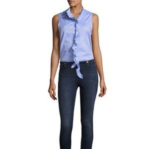 Tibi Oxford Ruffle Light Blue Sleeveless Top Sz 0
